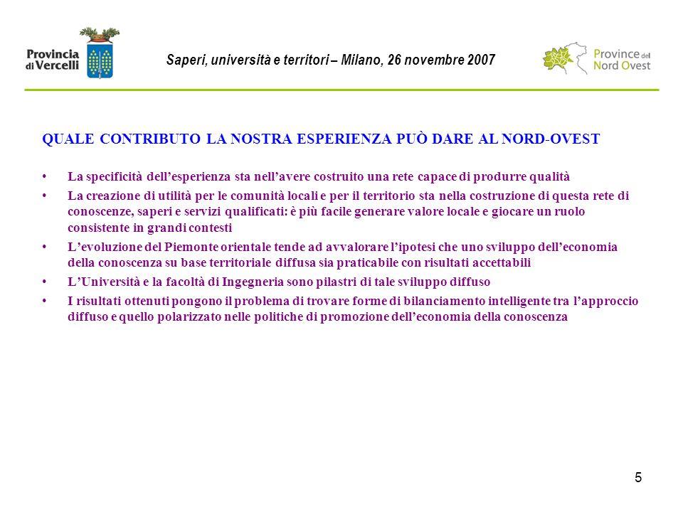 5 QUALE CONTRIBUTO LA NOSTRA ESPERIENZA PUÒ DARE AL NORD-OVEST Saperi, università e territori – Milano, 26 novembre 2007 La specificità dellesperienza