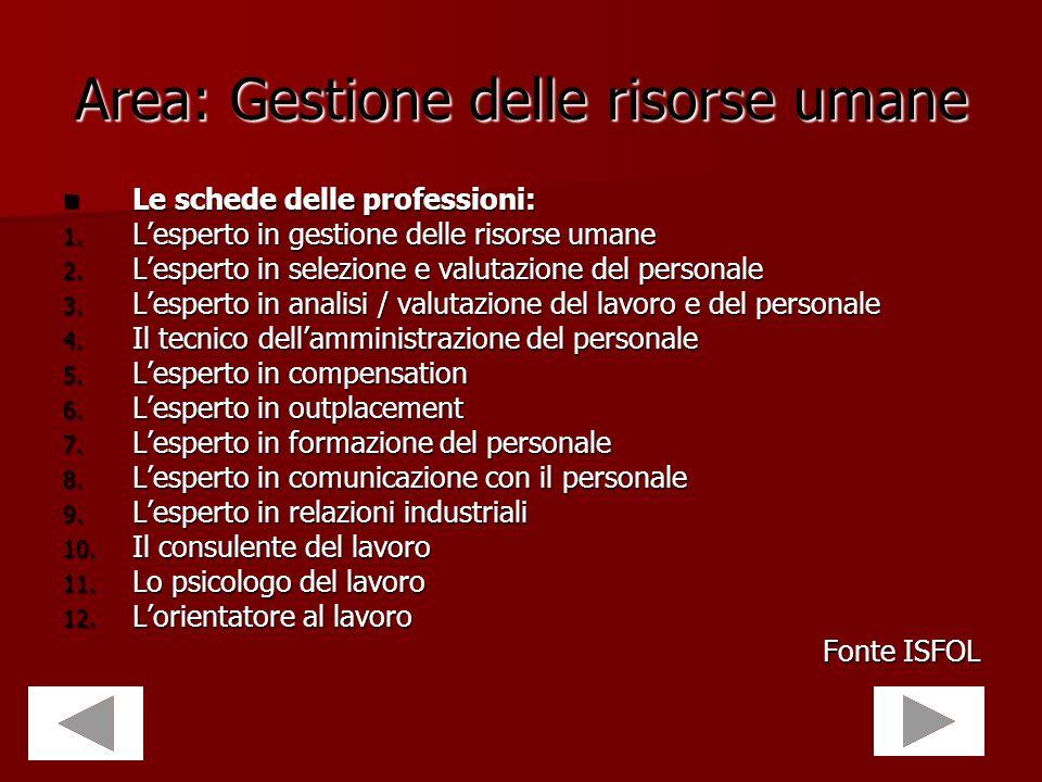 Area: Gestione delle risorse umane Le schede delle professioni: Le schede delle professioni: 1. Lesperto in gestione delle risorse umane 2. Lesperto i