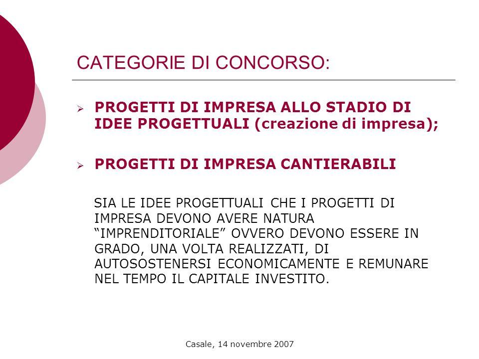 Casale, 14 novembre 2007 CATEGORIE DI CONCORSO: PROGETTI DI IMPRESA ALLO STADIO DI IDEE PROGETTUALI (creazione di impresa); PROGETTI DI IMPRESA CANTIE