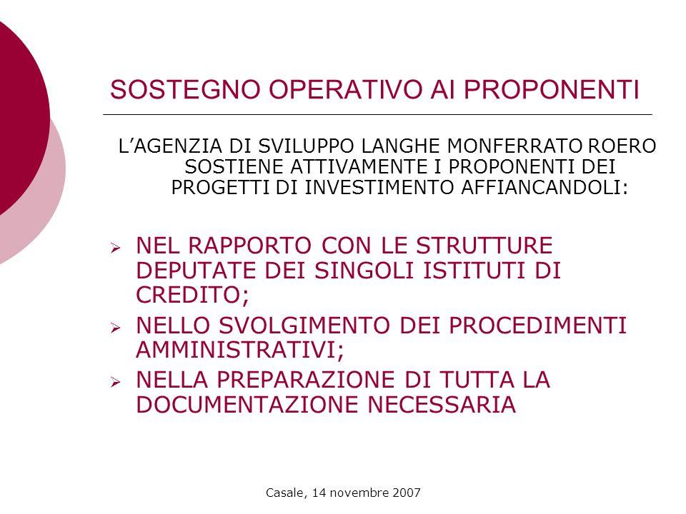 Casale, 14 novembre 2007 SOSTEGNO OPERATIVO AI PROPONENTI LAGENZIA DI SVILUPPO LANGHE MONFERRATO ROERO SOSTIENE ATTIVAMENTE I PROPONENTI DEI PROGETTI