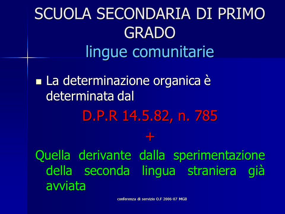conferenza di servizio O.F 2006-07 MGB SCUOLA SECONDARIA DI PRIMO GRADO lingue comunitarie La determinazione organica è determinata dal La determinazione organica è determinata dal D.P.R 14.5.82, n.