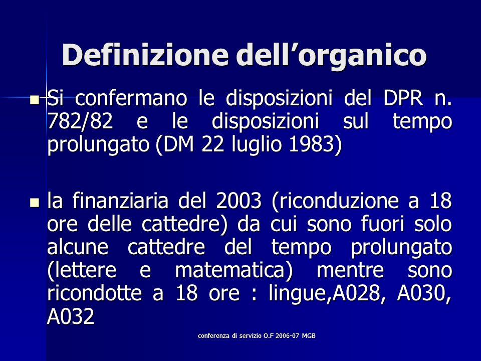 conferenza di servizio O.F 2006-07 MGB Definizione dellorganico Si confermano le disposizioni del DPR n.