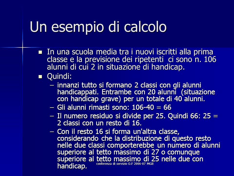 conferenza di servizio O.F 2006-07 MGB Un esempio di calcolo In una scuola media tra i nuovi iscritti alla prima classe e la previsione dei ripetenti ci sono n.
