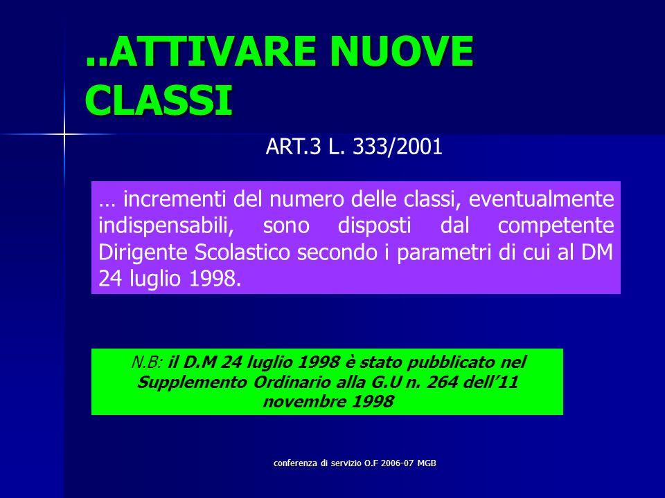 conferenza di servizio O.F 2006-07 MGB..ATTIVARE NUOVE CLASSI ART.3 L.