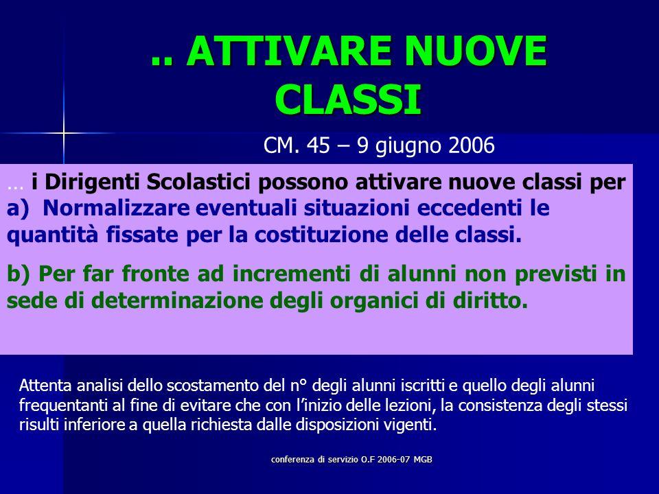 conferenza di servizio O.F 2006-07 MGB.. ATTIVARE NUOVE CLASSI CM.