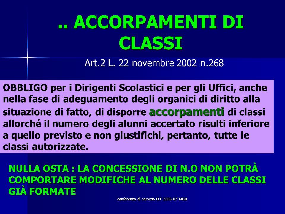 conferenza di servizio O.F 2006-07 MGB.. ACCORPAMENTI DI CLASSI Art.2 L.