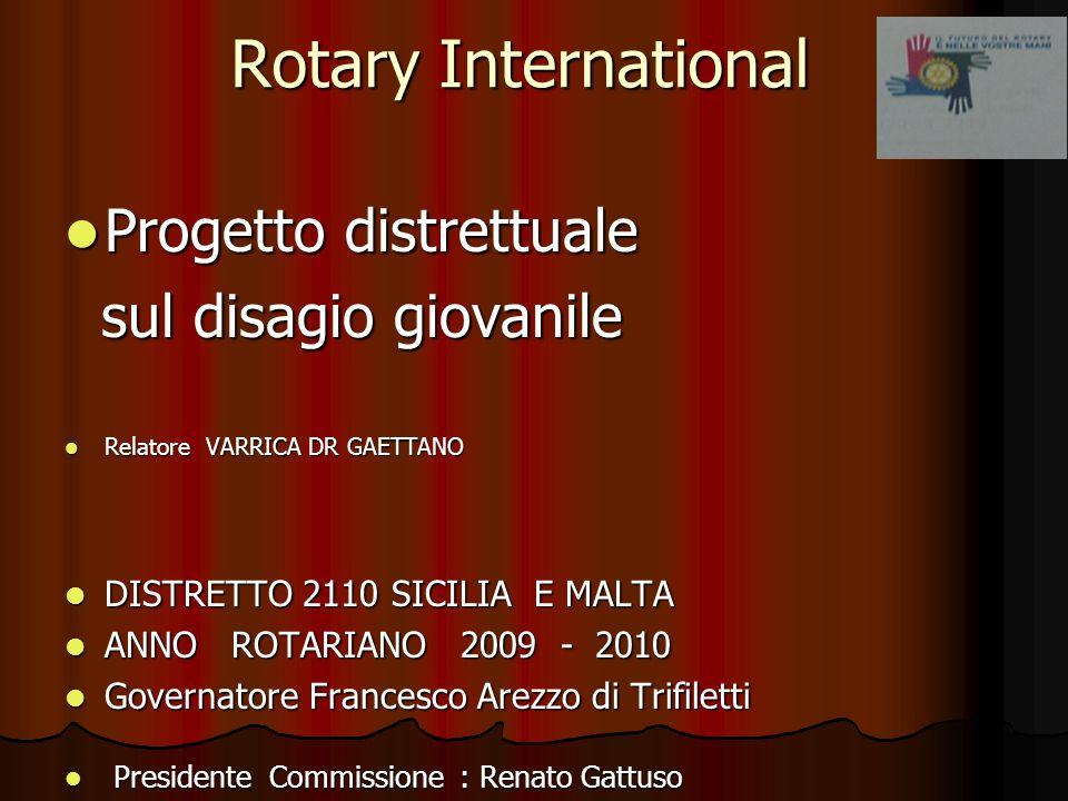 Rotary International Progetto distrettuale Progetto distrettuale sul disagio giovanile sul disagio giovanile Relatore VARRICA DR GAETTANO Relatore VAR