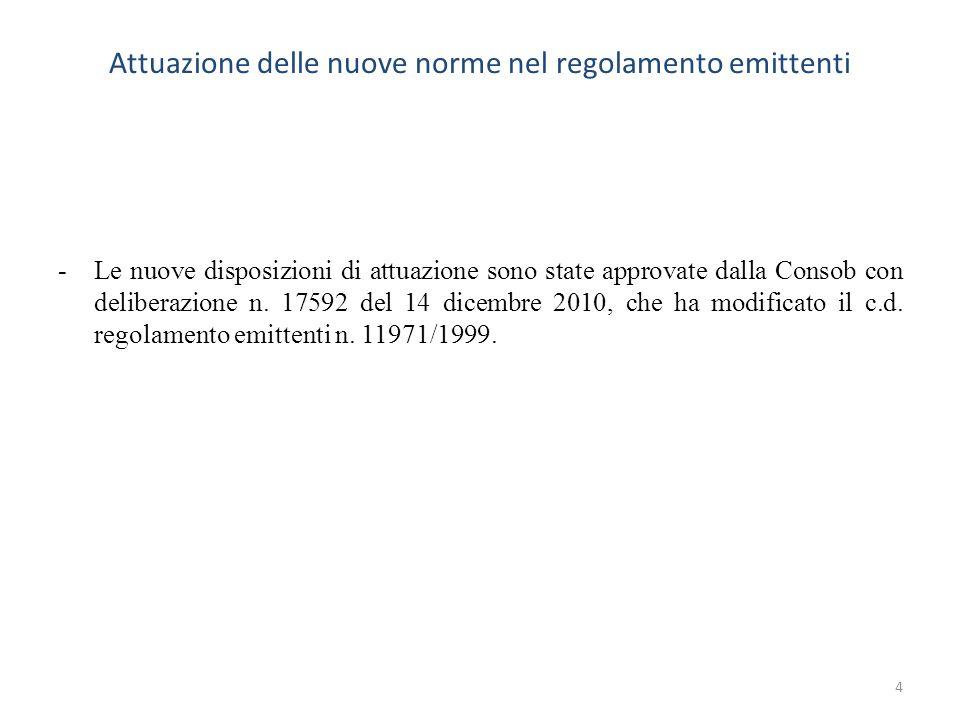 Attuazione delle nuove norme nel regolamento emittenti -Le nuove disposizioni di attuazione sono state approvate dalla Consob con deliberazione n. 175