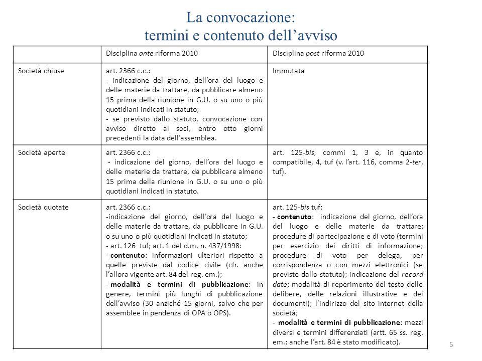 La convocazione: termini e contenuto dellavviso 5 Disciplina ante riforma 2010Disciplina post riforma 2010 Società chiuseart. 2366 c.c.: - indicazione