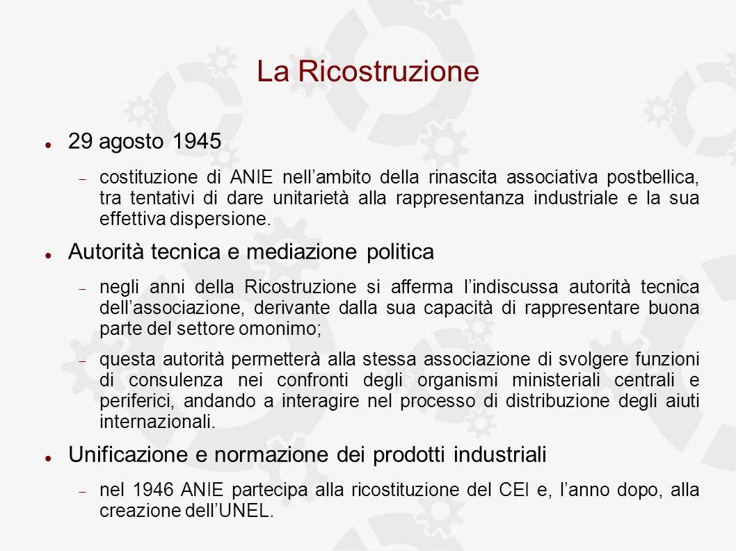 La Ricostruzione 29 agosto 1945 costituzione di ANIE nellambito della rinascita associativa postbellica, tra tentativi di dare unitarietà alla rappresentanza industriale e la sua effettiva dispersione.