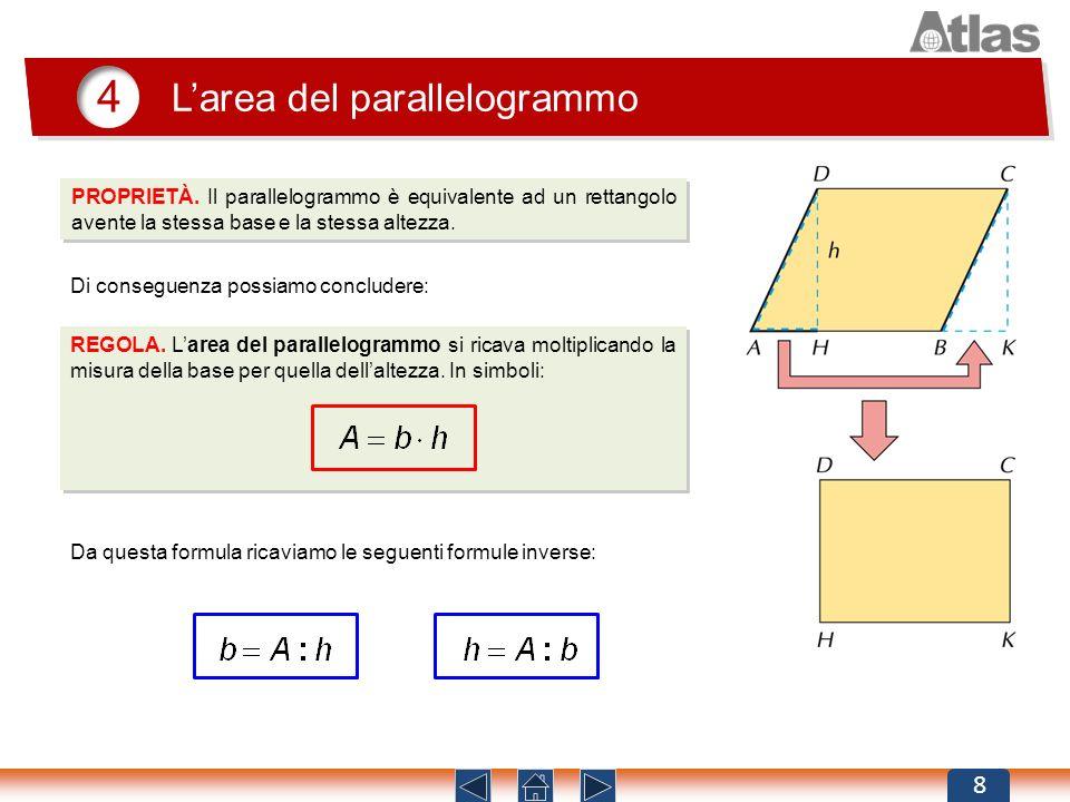 4 Larea del parallelogrammo 8 PROPRIETÀ. Il parallelogrammo è equivalente ad un rettangolo avente la stessa base e la stessa altezza. Da questa formul