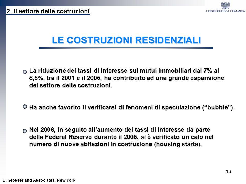 13 2. Il settore delle costruzioni LE COSTRUZIONI RESIDENZIALI La riduzione dei tassi di interesse sui mutui immobiliari dal 7% al 5,5%, tra il 2001 e