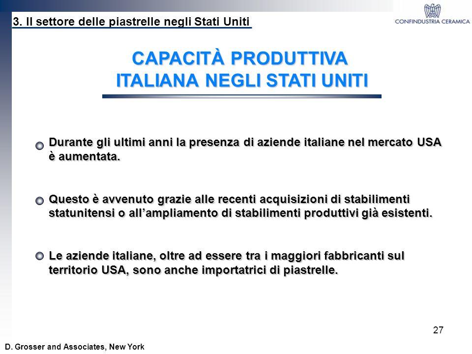27 D. Grosser and Associates, New York CAPACITÀ PRODUTTIVA ITALIANA NEGLI STATI UNITI 3. Il settore delle piastrelle negli Stati Uniti Durante gli ult