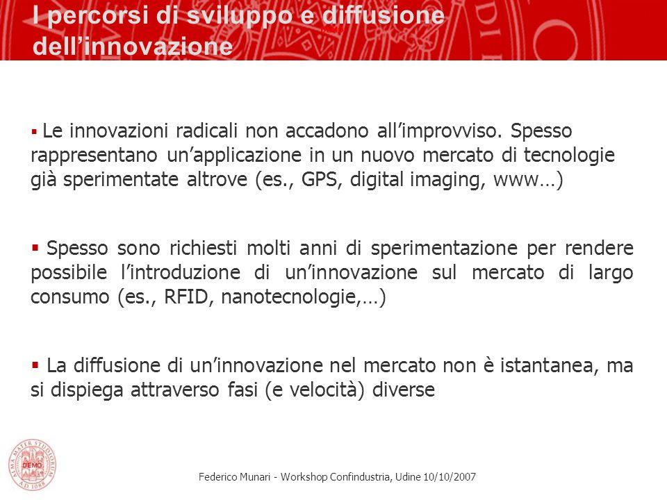 Federico Munari - Workshop Confindustria, Udine 10/10/2007 I percorsi di sviluppo e diffusione dellinnovazione Le innovazioni radicali non accadono al