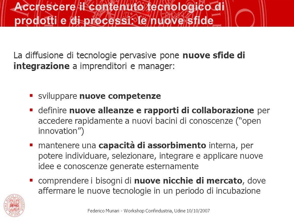 Federico Munari - Workshop Confindustria, Udine 10/10/2007 Accrescere il contenuto tecnologico di prodotti e di processi: le nuove sfide La diffusione