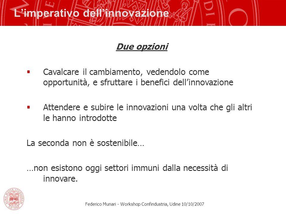 Federico Munari - Workshop Confindustria, Udine 10/10/2007 Limperativo dellinnovazione Due opzioni Cavalcare il cambiamento, vedendolo come opportunit