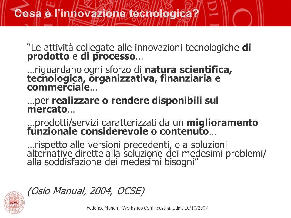 Federico Munari - Workshop Confindustria, Udine 10/10/2007 Cosa è linnovazione tecnologica? Le attività collegate alle innovazioni tecnologiche di pro