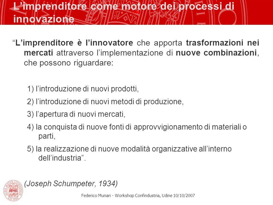 Federico Munari - Workshop Confindustria, Udine 10/10/2007 Limprenditore come motore dei processi di innovazione Limprenditore è linnovatore che appor