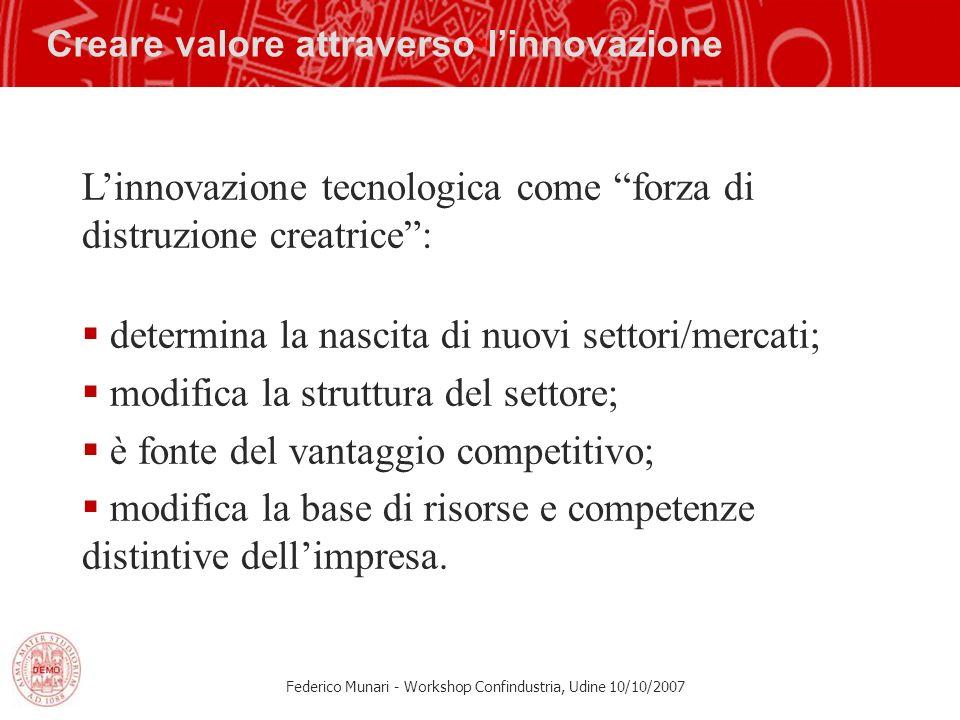 Federico Munari - Workshop Confindustria, Udine 10/10/2007 Creare valore attraverso linnovazione Linnovazione tecnologica come forza di distruzione cr