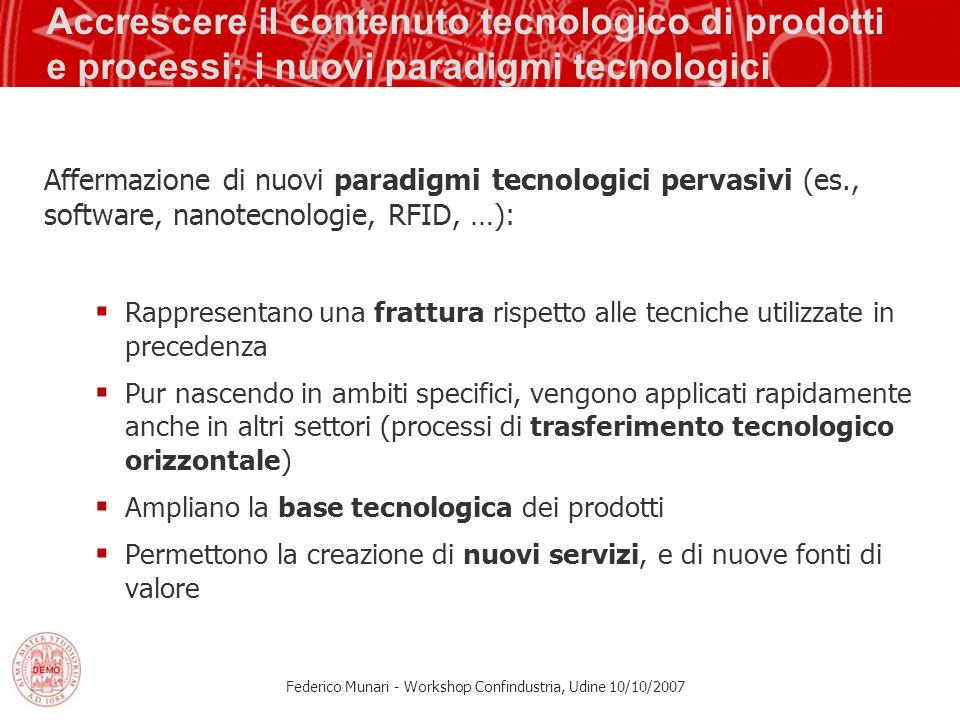 Federico Munari - Workshop Confindustria, Udine 10/10/2007 Accrescere il contenuto tecnologico di prodotti e processi: i nuovi paradigmi tecnologici A