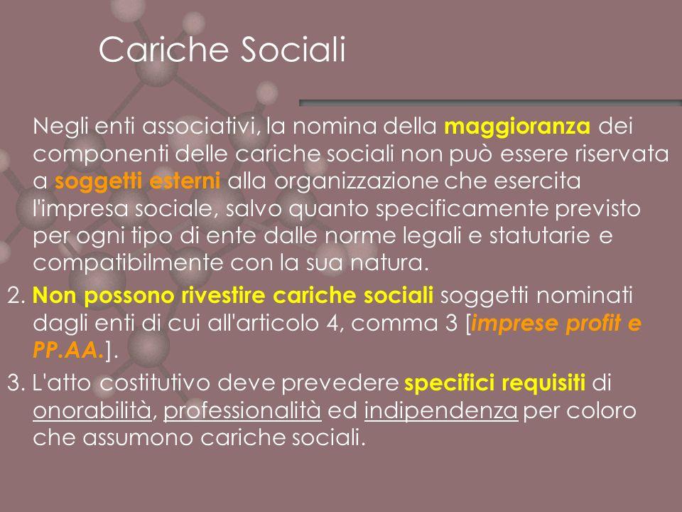 Cariche Sociali Negli enti associativi, la nomina della maggioranza dei componenti delle cariche sociali non può essere riservata a soggetti esterni a