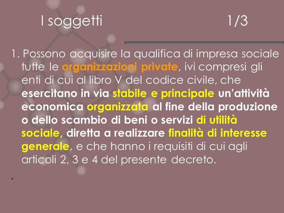 I soggetti 1/3 1. Possono acquisire la qualifica di impresa sociale tutte le organizzazioni private, ivi compresi gli enti di cui al libro V del codic