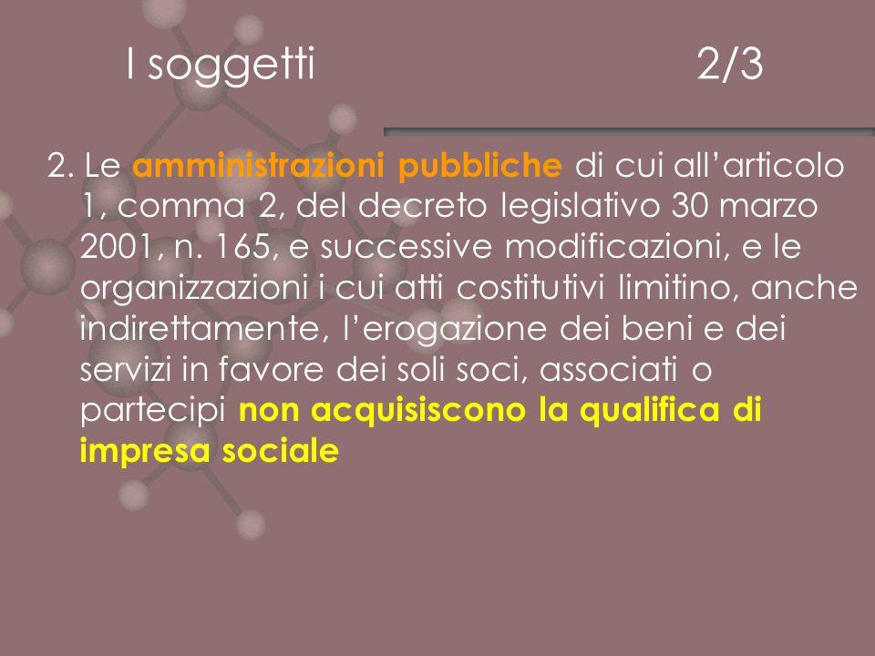 I soggetti 2/3 2. Le amministrazioni pubbliche di cui allarticolo 1, comma 2, del decreto legislativo 30 marzo 2001, n. 165, e successive modificazion