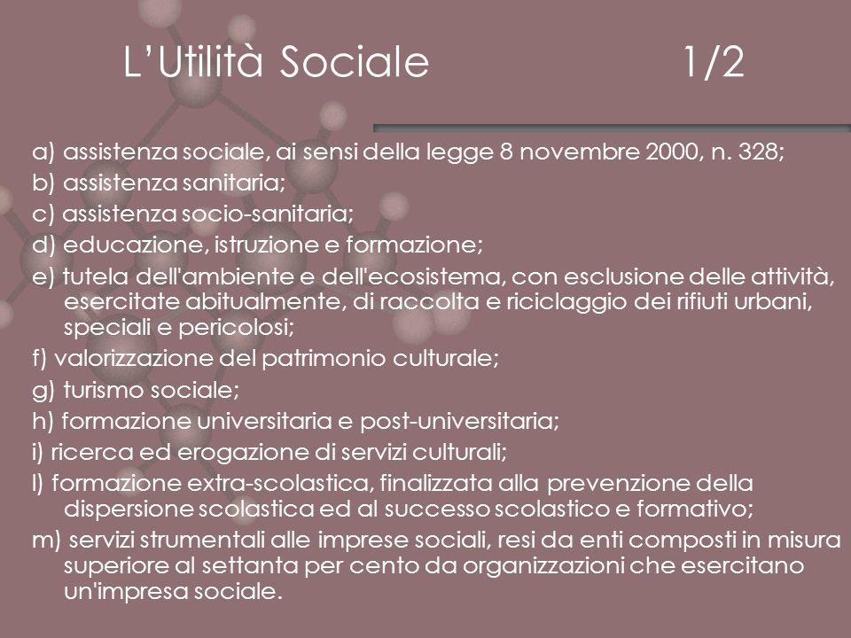 LUtilità Sociale 1/2 a) assistenza sociale, ai sensi della legge 8 novembre 2000, n. 328; b) assistenza sanitaria; c) assistenza socio-sanitaria; d) e