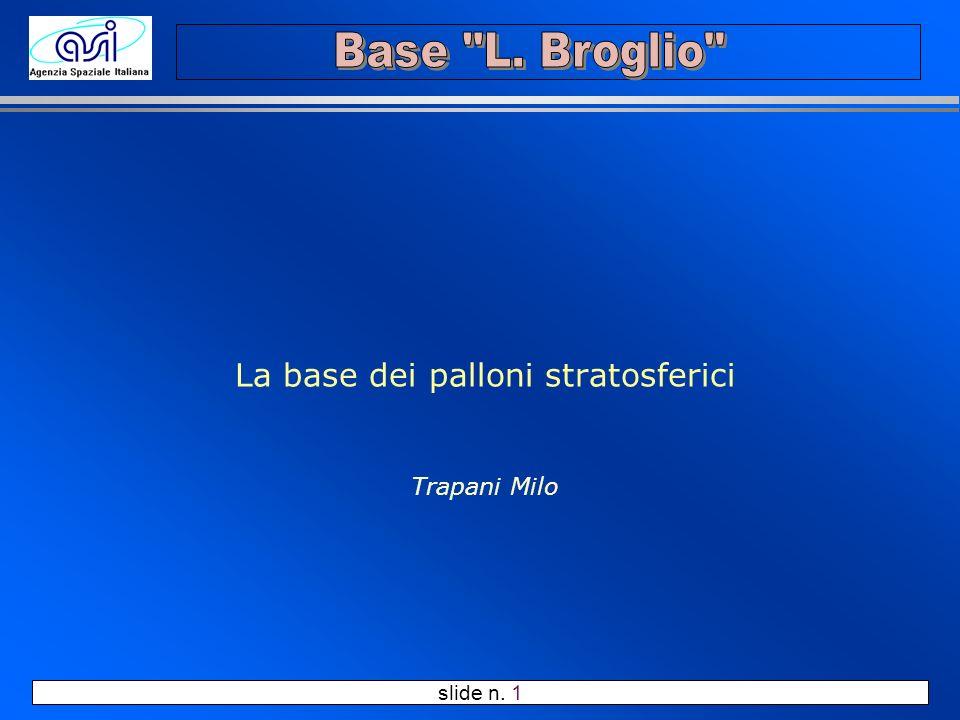 slide n. 1 La base dei palloni stratosferici Trapani Milo