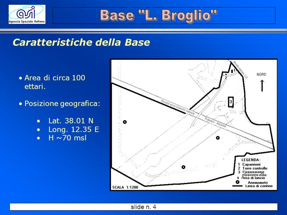 slide n. 4 Caratteristiche della Base Area di circa 100 ettari. Posizione geografica: Lat. 38.01 N Long. 12.35 E H ~70 msl