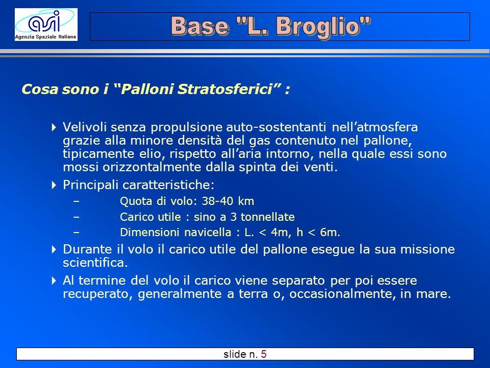 slide n. 5 Cosa sono i Palloni Stratosferici : Velivoli senza propulsione auto-sostentanti nellatmosfera grazie alla minore densità del gas contenuto