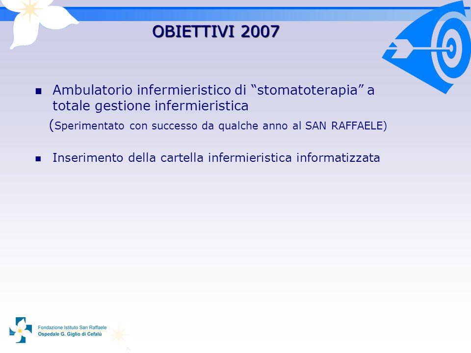 OBIETTIVI 2007 Ambulatorio infermieristico di stomatoterapia a totale gestione infermieristica ( Sperimentato con successo da qualche anno al SAN RAFFAELE) Inserimento della cartella infermieristica informatizzata