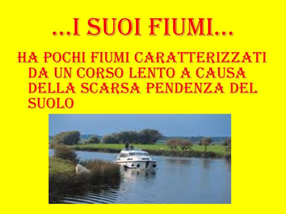 …I suoi fiumi… Ha pochi fiumi caratterizzati da un corso lento a causa della scarsa pendenza del suolo
