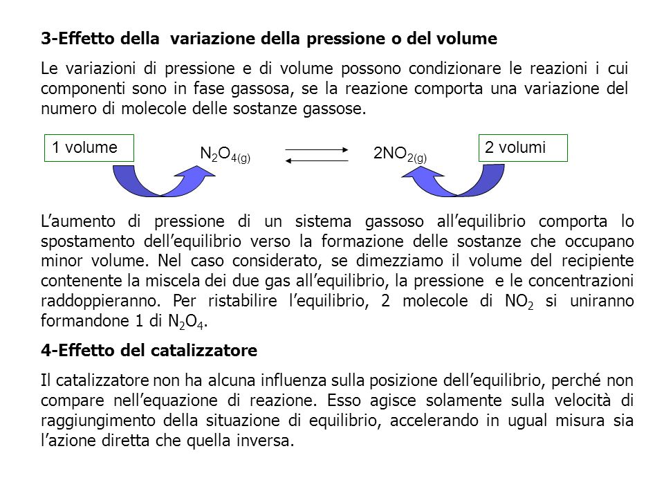 3-Effetto della variazione della pressione o del volume Le variazioni di pressione e di volume possono condizionare le reazioni i cui componenti sono