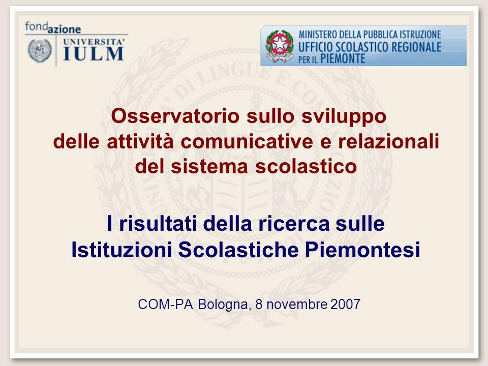 Osservatorio sullo sviluppo delle attività comunicative e relazionali del sistema scolastico I risultati della ricerca sulle Istituzioni Scolastiche Piemontesi COM-PA Bologna, 8 novembre 2007