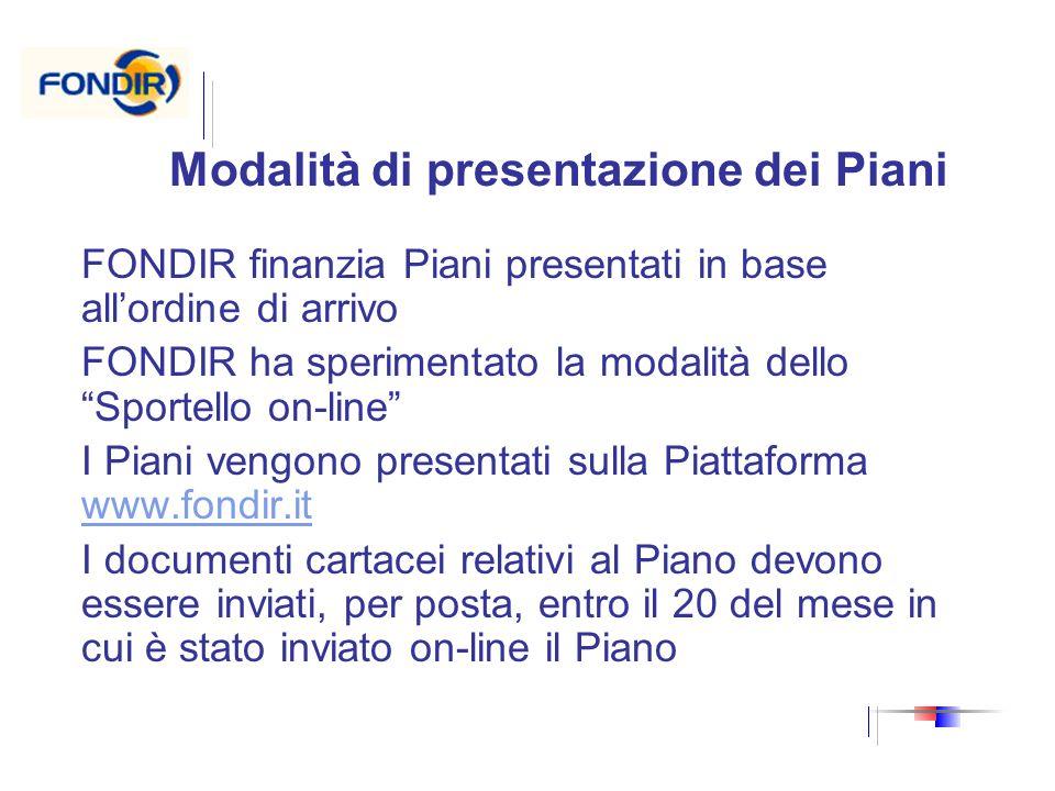 Modalità di presentazione dei Piani FONDIR finanzia Piani presentati in base allordine di arrivo FONDIR ha sperimentato la modalità dello Sportello on