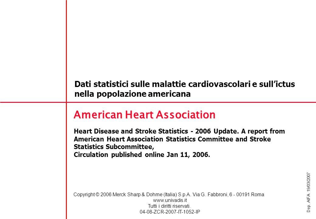 INCIDENZA Dati statistici sulle malattie cardiovascolari e sullictus nella popolazione americana AMERICAN HEART ASSOCIATION