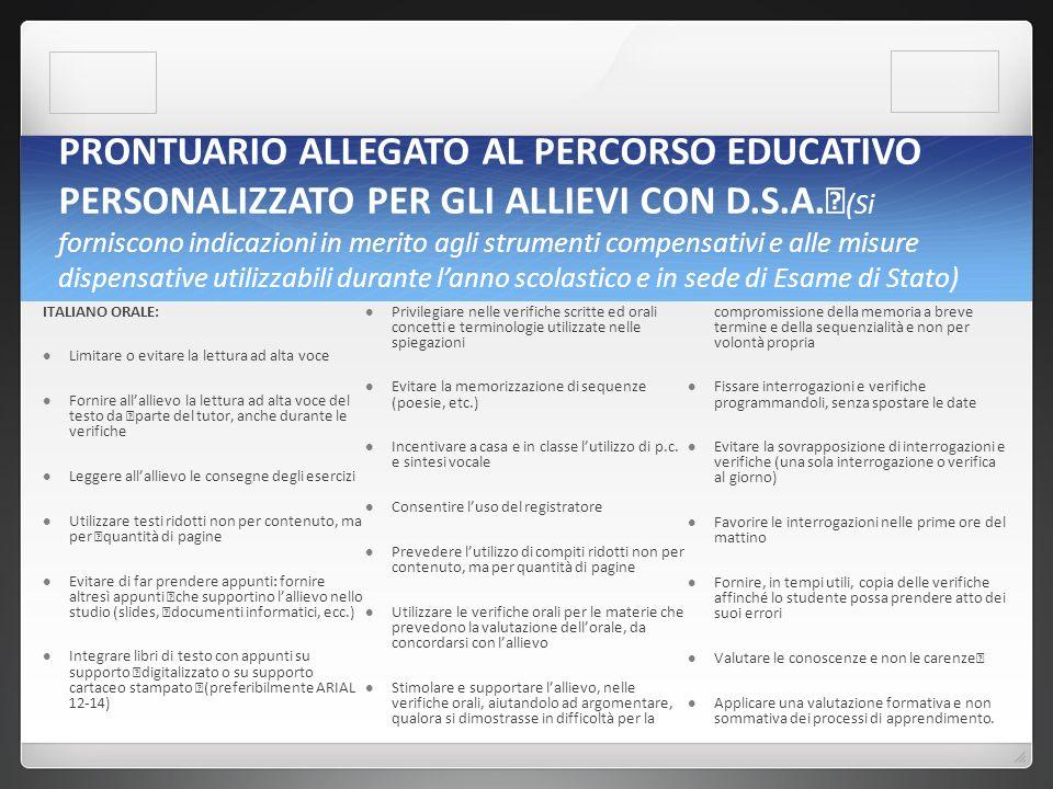 PRONTUARIO ALLEGATO AL PERCORSO EDUCATIVO PERSONALIZZATO PER GLI ALLIEVI CON D.S.A.