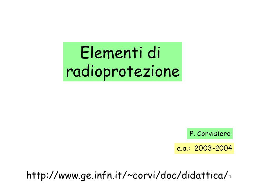 22 Esempio: calcolare lintensita di flusso di particelle beta alla distanza r = 2 metri (nel vuoto) da una sorgente di 60 Co di attivita a = 6 MBq r 60 Co La sorgente emette ogni secondo 6·10 6 particelle beta ogni secondo sulla sfera di raggio r incidono 6·10 6 particelle beta