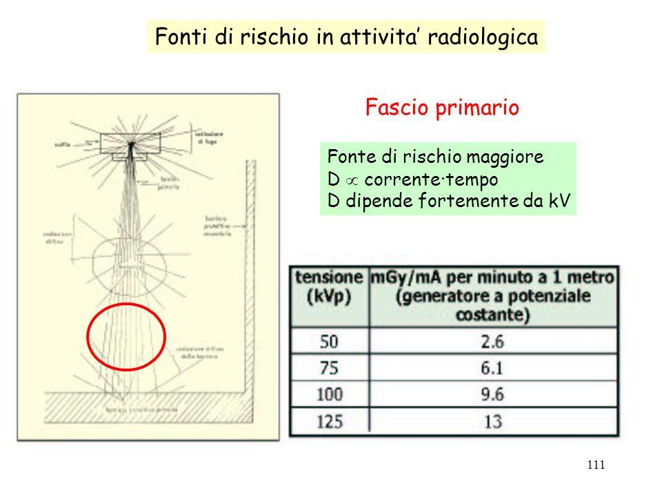 111 Fonti di rischio in attivita radiologica Fascio primario Fonte di rischio maggiore D corrente·tempo D dipende fortemente da kV