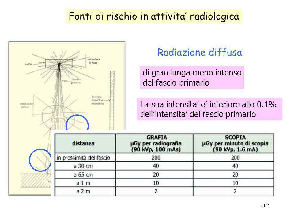 112 Fonti di rischio in attivita radiologica Radiazione diffusa di gran lunga meno intenso del fascio primario La sua intensita e inferiore allo 0.1%