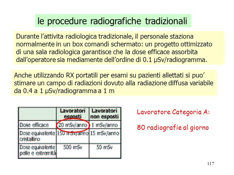 117 le procedure radiografiche tradizionali Durante lattivita radiologica tradizionale, il personale staziona normalmente in un box comandi schermato: