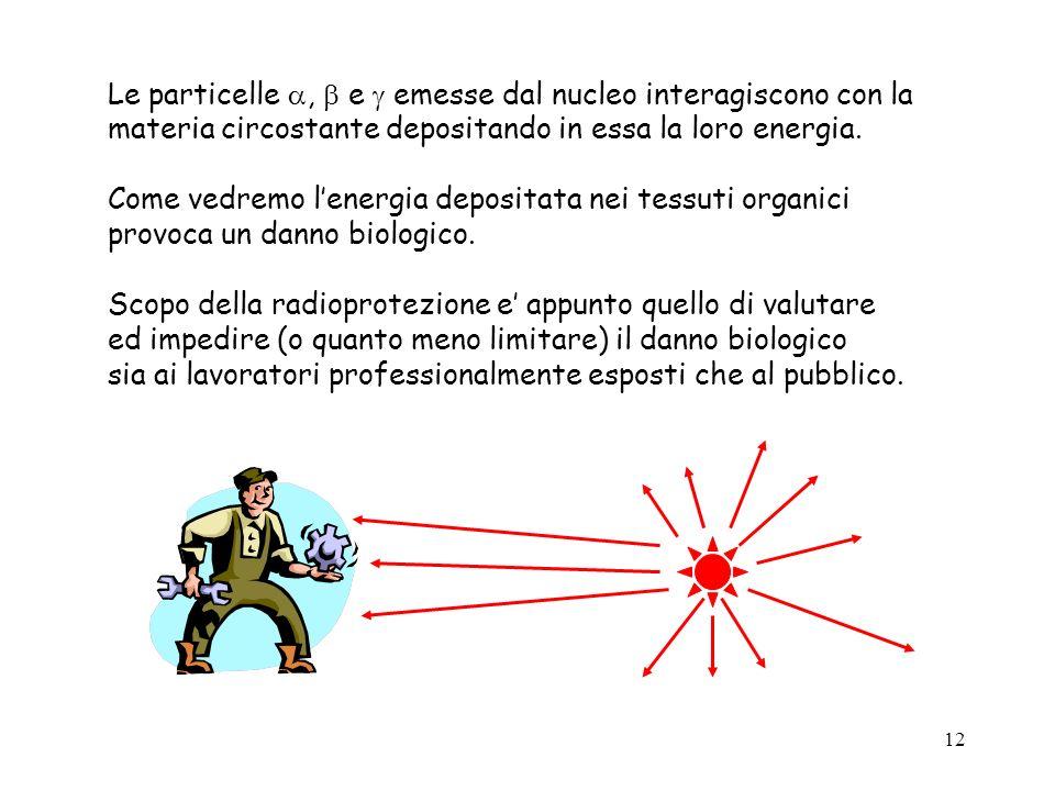 12 Le particelle, e emesse dal nucleo interagiscono con la materia circostante depositando in essa la loro energia. Come vedremo lenergia depositata n