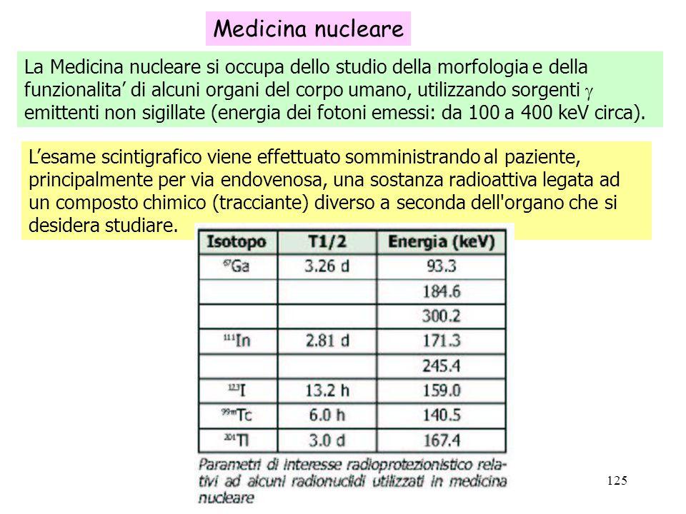 125 Medicina nucleare La Medicina nucleare si occupa dello studio della morfologia e della funzionalita di alcuni organi del corpo umano, utilizzando