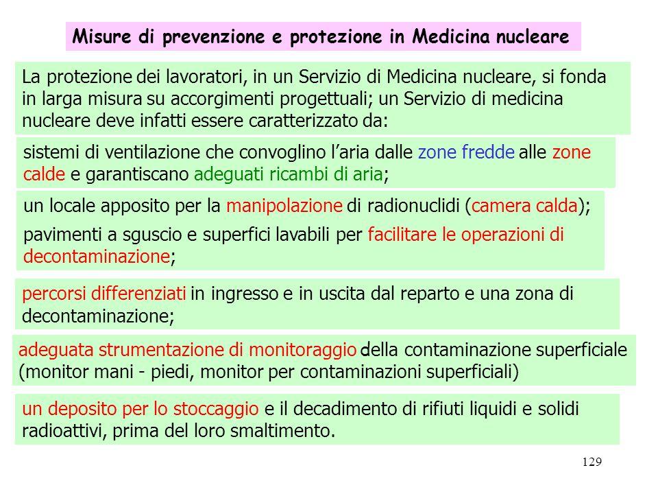 129 Misure di prevenzione e protezione in Medicina nucleare La protezione dei lavoratori, in un Servizio di Medicina nucleare, si fonda in larga misur