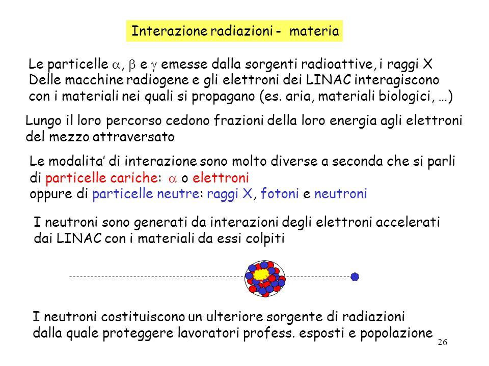 26 Interazione radiazioni - materia Le particelle, e emesse dalla sorgenti radioattive, i raggi X Delle macchine radiogene e gli elettroni dei LINAC i