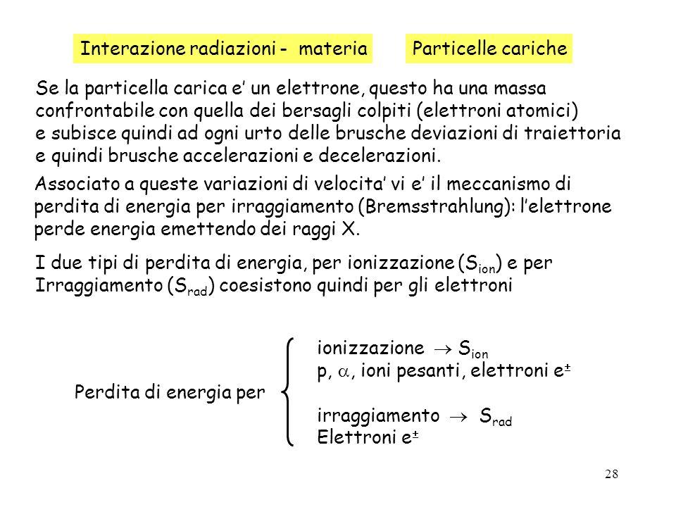 28 Interazione radiazioni - materiaParticelle cariche Se la particella carica e un elettrone, questo ha una massa confrontabile con quella dei bersagl