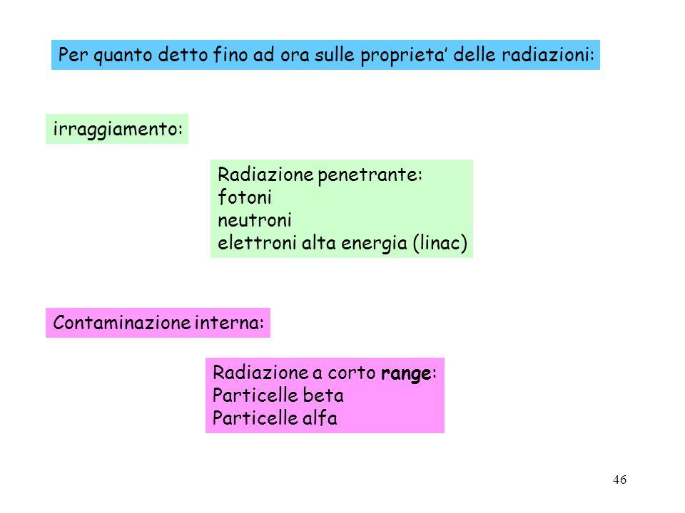 46 Per quanto detto fino ad ora sulle proprieta delle radiazioni: irraggiamento: Contaminazione interna: Radiazione penetrante: fotoni neutroni elettr