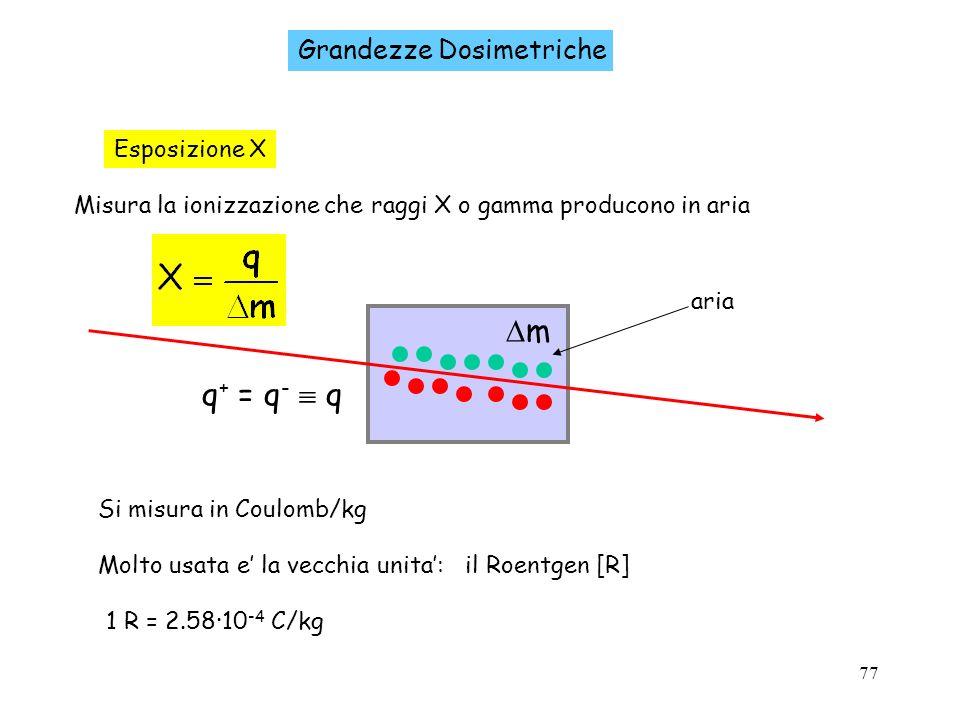 77 Grandezze Dosimetriche Esposizione X Misura la ionizzazione che raggi X o gamma producono in aria Si misura in Coulomb/kg Molto usata e la vecchia