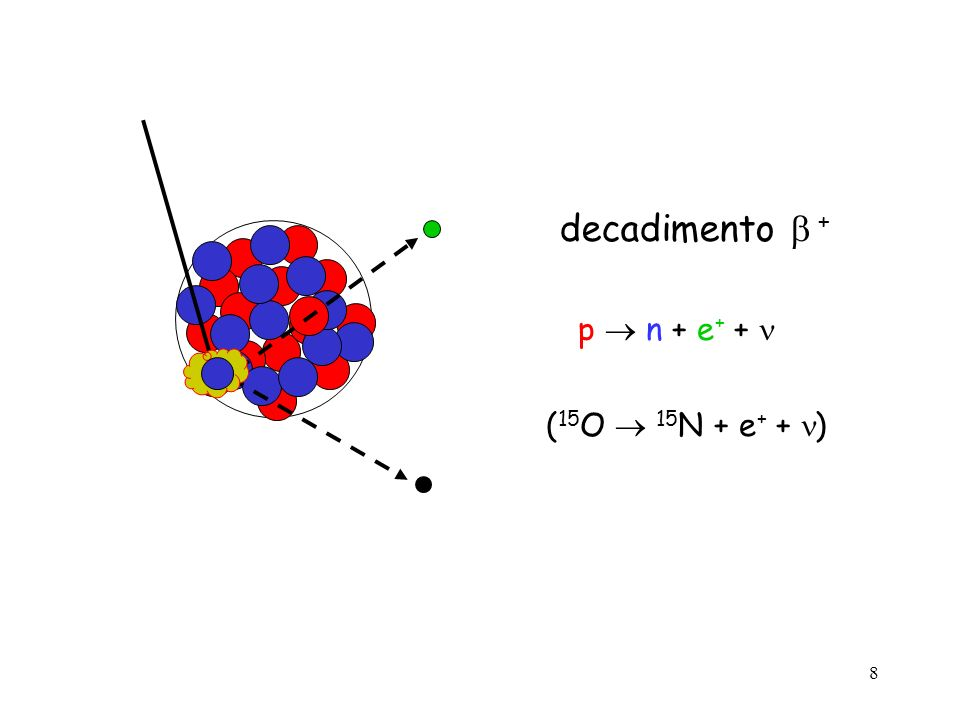 8 decadimento + p n + e + + ( 15 O 15 N + e + + )